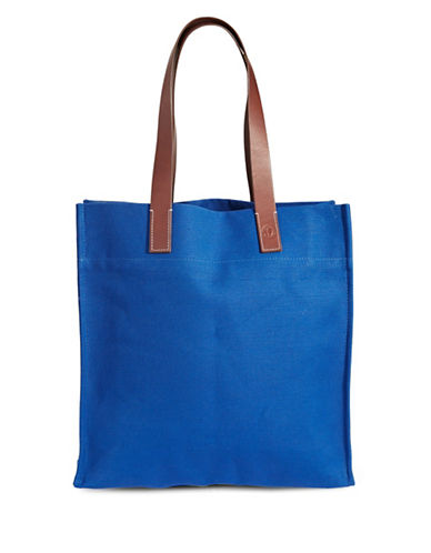 Frescobol Carioca Linen and Leather Beach Bag-BLUE-One Size