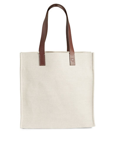 Frescobol Carioca Linen and Leather Beach Bag-BEIGE-One Size
