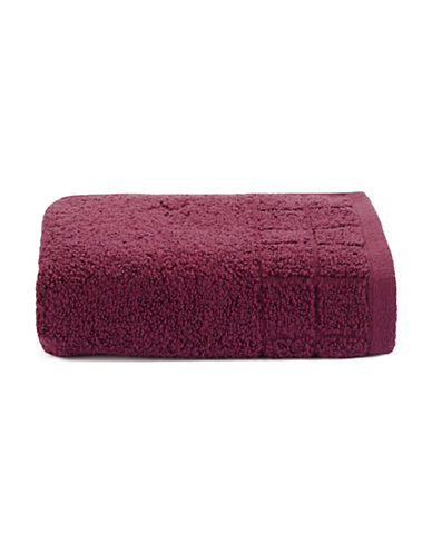 Calvin Klein Sculpted Grid Cotton Hand Towel-WINE-Hand Towel