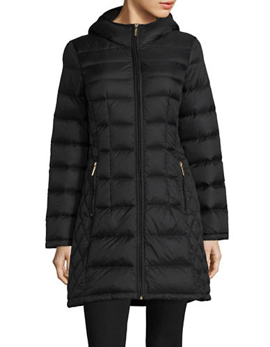 Michael Michael Kors Essential Long Packable Down Jacket-BLACK-Small