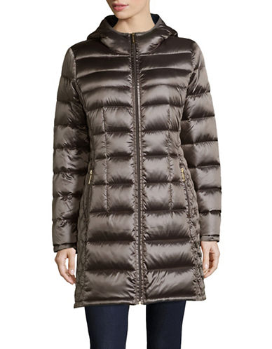 Michael Michael Kors Essential Long Packable Down Jacket-GUN METAL-Medium