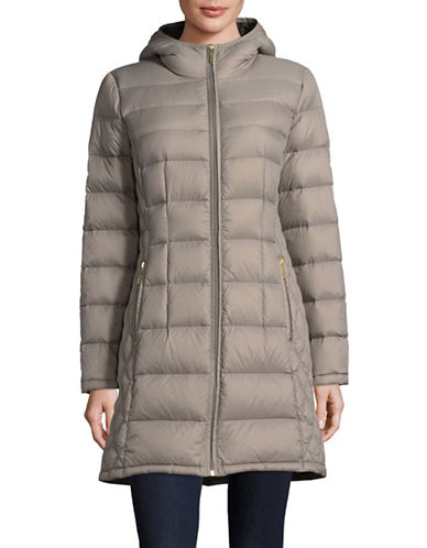 Michael Michael Kors Essential Long Packable Down Jacket-TAUPE-Small