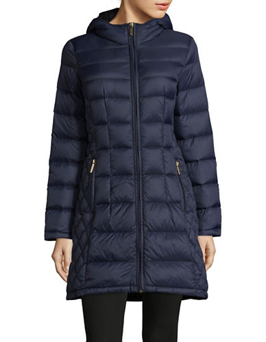 Michael Michael Kors Essential Long Packable Down Jacket-DARK BLUE-Small
