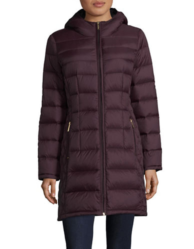 Michael Michael Kors Essential Long Packable Down Jacket-EGGPLANT-Small