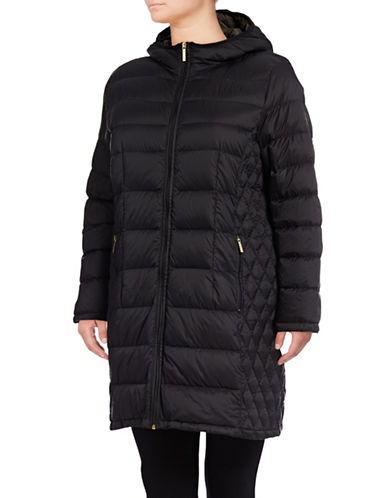 Michael Michael Kors Long Packable Down Jacket-BLACK-2X