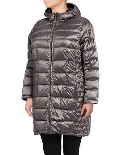 Michael Michael Kors Long Packable Down Jacket-SILVER-1X
