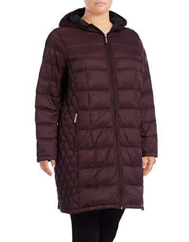 Michael Michael Kors Long Packable Down Jacket-EGGPLANT-1X