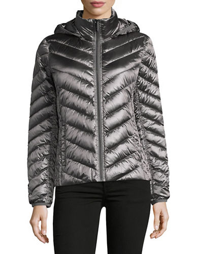Michael Michael Kors Packable Down Jacket-GUN METAL-X-Small
