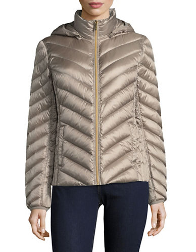 Michael Michael Kors Packable Down Jacket-TAUPE-Small