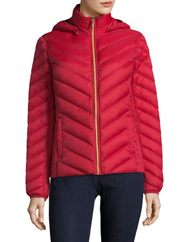 Michael Michael Kors Packable Down Jacket-RED-Small