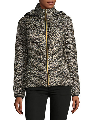 Michael Michael Kors Essential Short Packable Down Jacket-LEOPARD-Large