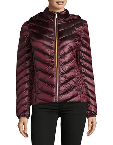 Michael Michael Kors Packable Down Jacket-MERLOT-Small