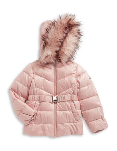 Michael Michael Kors Faux Fur Trim Belted Puffer Jacket-BLUSH-10-12