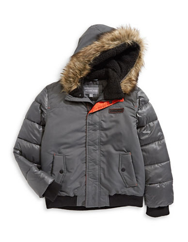 Michael Michael Kors Parka with Faux Fur Hood-GREY-14-16