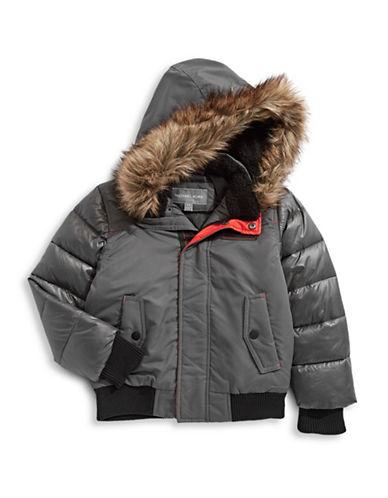 Michael Michael Kors Parka with Faux Fur Hood-GREY-7