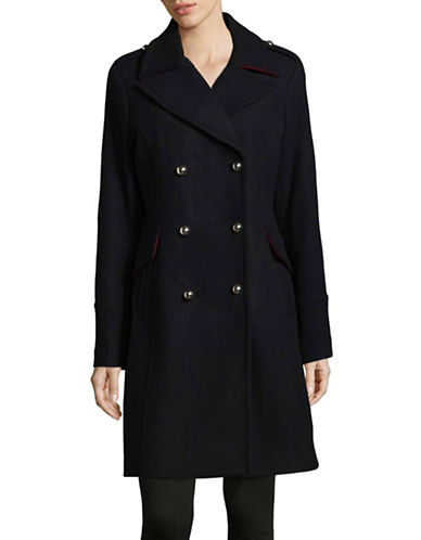 Michael Michael Kors Double Breasted Wool-Blend Peacoat-NAVY-16