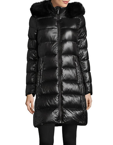 Michael Michael Kors Ultra Lightweight Fur-Trim Down Jacket-BLACK-X-Large