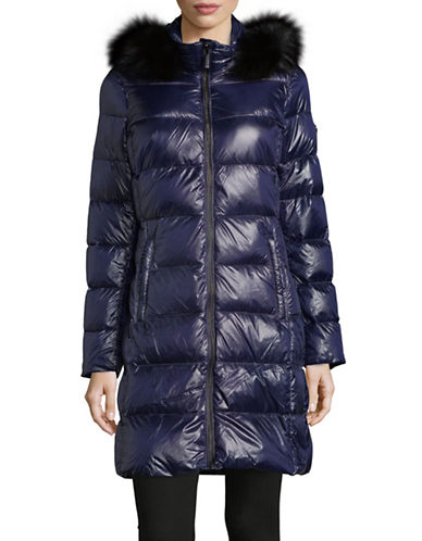 Michael Michael Kors Ultra Lightweight Fur-Trim Down Jacket-NAVY-X-Small