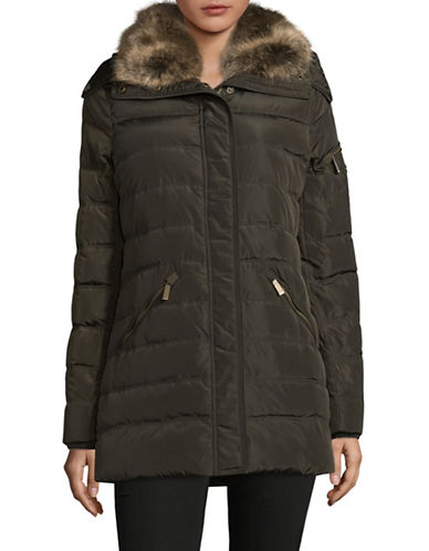 Michael Michael Kors Faux Fur Hooded Down Jacket-OLIVE-Medium