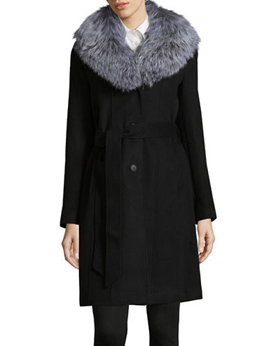 Michael Michael Kors Fox Fur-Trimmed Wool-Blend Coat-BLACK-14