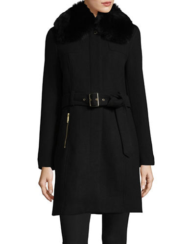 Michael Michael Kors Fox Fur-Trimmed Wool-Blend Coat-BLACK-0