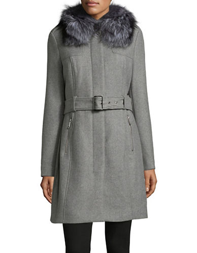 Michael Michael Kors Fox Fur-Trimmed Wool-Blend Coat-LIGHT GREY-4
