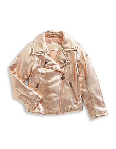 Michael Michael Kors Metallic Faux Leather Jacket-PINK-5-6