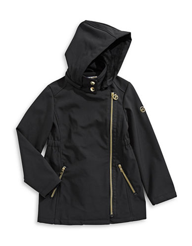 Michael Michael Kors Softshell Asymmetrical Jacket-BLACK-6X