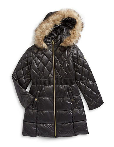 Michael Michael Kors Faux Fur Trim Hooded Puffer Jacket-BLACK-10-12