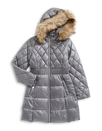 Michael Michael Kors Puffer Jacket with Faux Fur Hood-GREY-7-8