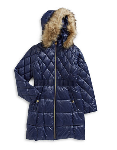 Michael Michael Kors Faux Fur Trim Hooded Puffer Jacket-NAVY-14