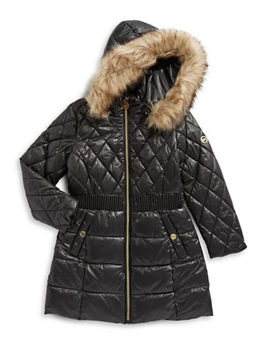 Michael Michael Kors Puffer Jacket with Faux Fur Hood-BLACK-6X