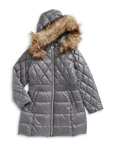 Michael Michael Kors Puffer Jacket with Faux Fur Hood-GREY-5-6