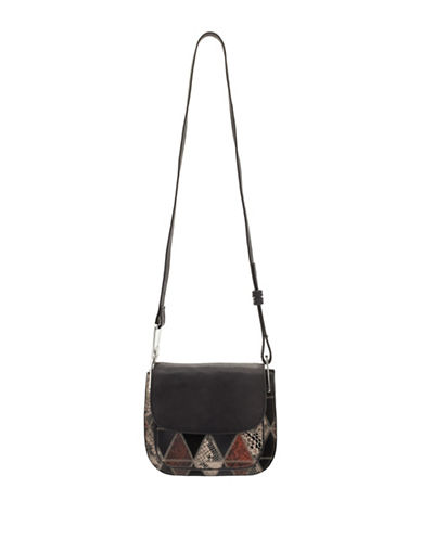 Sam Edelman Ryan Mixed Media Saddle Bag-BLACK-One Size