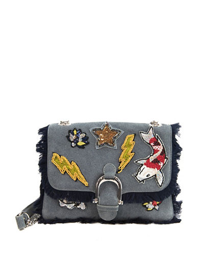 Sam Edelman Asher Mixed Patches Shoulder Bag-BLUE-One Size