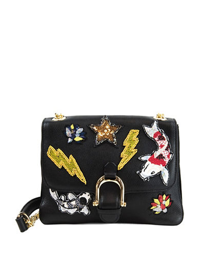 Sam Edelman Asher Mixed Patches Shoulder Bag-BLACK-One Size