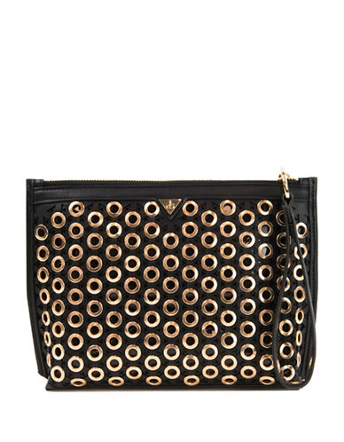 Sam Edelman Skylar Leather Clutch-BLACK-One Size