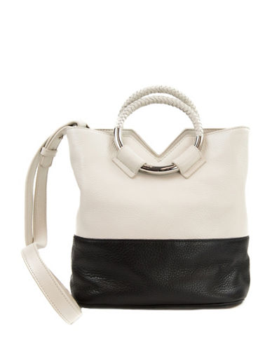 Sam Edelman Elina Colourblock Bucket Bag-IVORY/BLACK-One Size