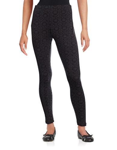 Style And Co. Damask Leggings-BLACK-Medium 88659017_BLACK_Medium
