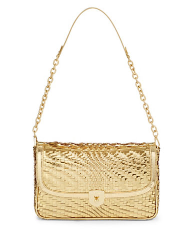Cole Haan Metallic Woven Leather Clutch-GOLD-One Size