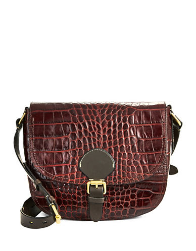 Cole Haan Loralie Croc-Embossed Italian Leather Saddle Bag-RED-One Size