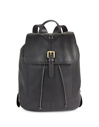 Cole Haan Drawstring Leather Backpack-BLACK-One Size