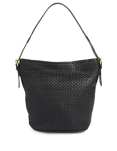 Cole Haan Loralie Weave Italian Leather Top Handle Bucket Bag-BLACK-One Size