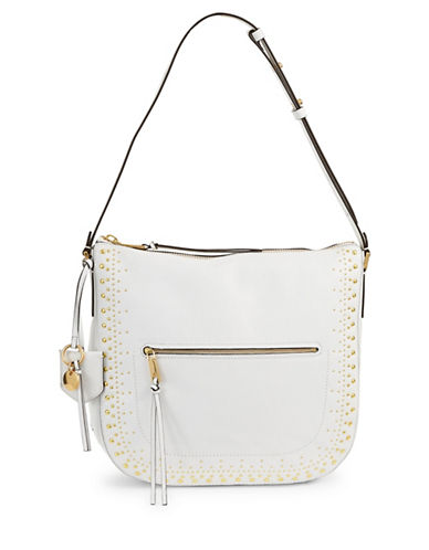 Cole Haan Marli Zip Leather Shoulder Bag-WHITE-One Size