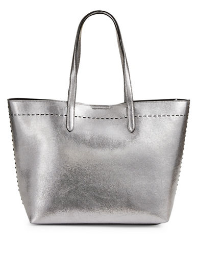 Cole Haan Metallic Medium Leather Tote-SILVER-One Size