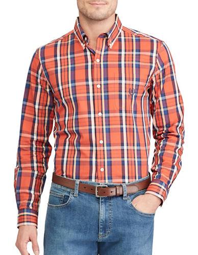 Chaps Plaid Sport Shirt-ORANGE-4X Big
