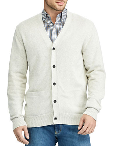Chaps Big and Tall V-Neck Buttoned Cardigan-NATURAL-2X Big