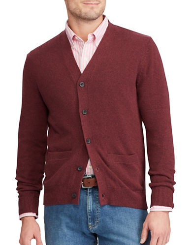 Chaps Big and Tall V-Neck Cotton Cardigan-RED-2X Big