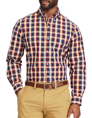 Chaps Big and Tall Plaid Stretch Poplin Shirt-NAVY-Large Tall