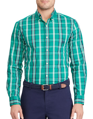 Chaps Big and Tall Plaid Stretch Poplin Shirt-GREEN-Large Tall